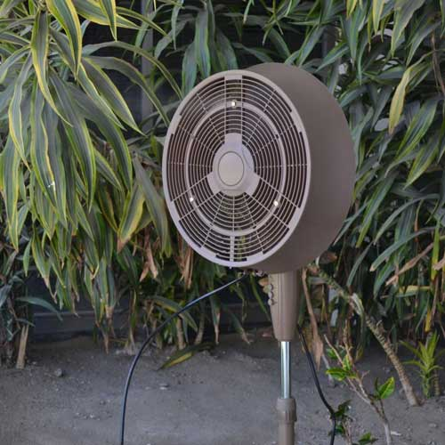 misting fan provides a cooling mist in hot weather